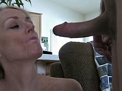 Spraying semen on the face of moms