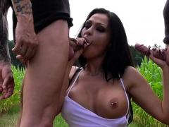 brunette big tits hooker in outdoor threesome MMF