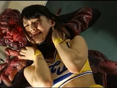 Cute Japanese teen in uniform gets used by a horny monster