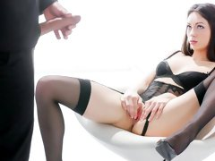 Adorable brunette in stockings Arwen Gold fucked by a gentleman