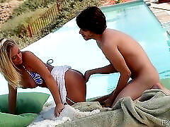 Blown by a cock craving bikini girl at the pool