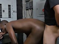 thug is given the locker room treatment by horny gay officers