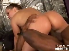 Naughty brunette tramp Katja Kassin riding a massive black schlong hard