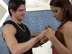 Arousing brunette gets paid and fucks a criminal really hard