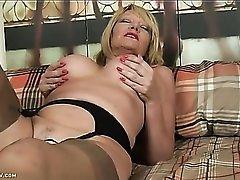 Tan stockings on a solo masturbating mama