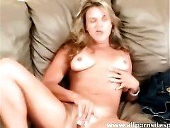 Cute amateur with tan lines masturbates