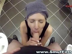 Euro skank swallows cum