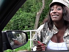 ebony army babe fucks stranger for money