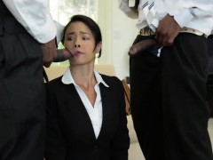 Business babe assfucked in interracial mmf