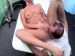 Tattooed gal fucking doctor in hospital office