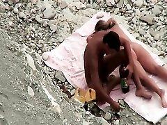 Cute curvy wife sucks a cock at the beach