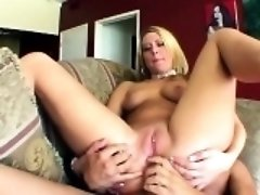 Blonde chick gives head and ass banged roughly