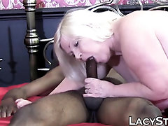 Brit GILF Lacey Starr rails and gargles a BIG BLACK COCK monster