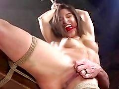 Hairy slave girl enjoys bondage and toying with BDSM master