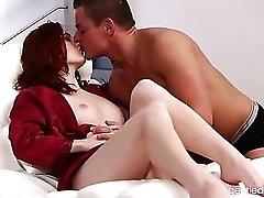 Sexy girl in a satin robe masturbates lustily
