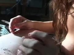 Dirty redhead bitch smokes cigarette