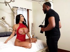 Busty Asian MILF August Taylor loves how huge his black dick is