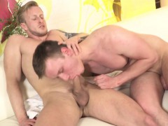 Cocksucking twink anally banged and creamed