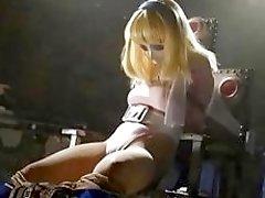 Masked slave girl tied up struggling from pervert master BDSM