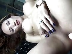Russian cute tgirl strokes and toys herself on metal chair