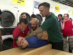 Gay orgy at the laundromat set to end with a bang