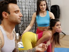 Yoga angels Kendra Spade and Autumn Falls share a big cock