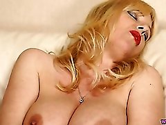 Big milf tits are amazing on a dildo fucking chick