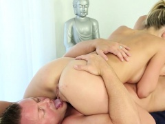 Spunk faced masseuse lick