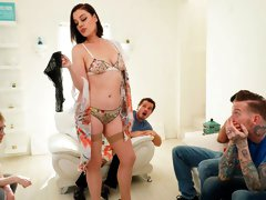 Awesome busty hottie Sovereign Syre is blowing three huge cocks