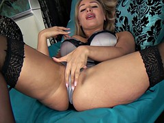 She fingers her pussy like a dick would drill her