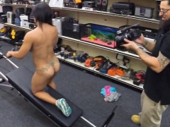 Ebony gym trainer sells stuff and fucked at the pawnshop
