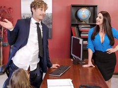Secretaries Angela White and Lena Paul are fucking with a young boss