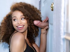 Curly-haired busty ebony Cecilia Lion feels his giant dick inside