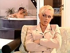 Amoral gorgeous Blonde Spies On Handsome Guy In Bathtube