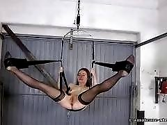 Bitch on a sex swing Karina fist fucked hard BDSM