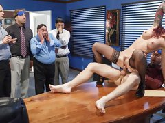 Redhead secretary with big tits Monique Alexander bangs on the table