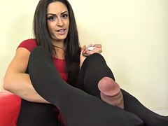black pantyhose footjob