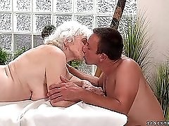 Grandma gets a rimjob from her masseur
