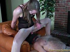 Pantyhose strapon femdom foot worship