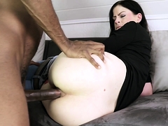 Hot brunette has a big black cock stretching her anal hole
