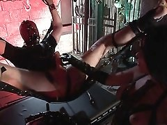 Mistress uses her bound slave for cock riding pleasure