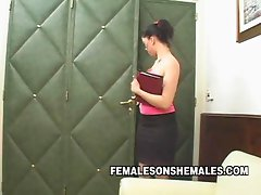 Shemale Sheina is the boss at her office and she is horny for her new female secretary Watch her unleash her sexy shemale body