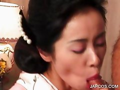 Asian geisha blowing and fucking cock