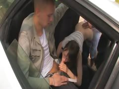 Amazing princess threesome in the car