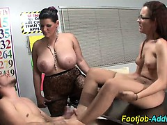 Cumshot on pantyhose after femdom tells student